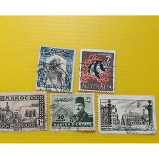 PERU EGYPT MOROCCO AUSTRALIA Mixed Vintage RARE Stamps - 5 Pcs LOT