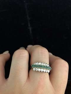 Antique sterling silver ring with stones size 8