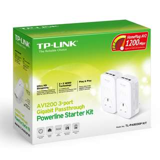 TP-Link AV1200 3-Port Gigabit Passthrough Powerline Starter Kit for Sale - Still Under Warranty