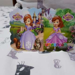 Invitation card sofia the princess