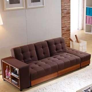 送貨梳化不可拆洗可儲物日式風格布藝沙發帶茶几位sofa