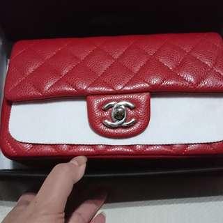 Chanel mini coco 20公分 正紅 荔枝牛皮