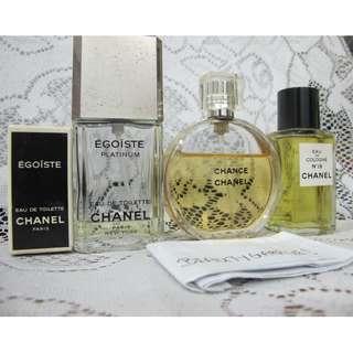 Preloved Lot of Genuine Chanel perfume Chance , Egoiste Platinum , Egoiste , Number No 19 Eau de Cologne