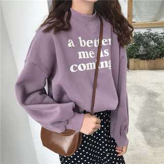 "po; tumblr quoted ""a better me is coming"" oversized pullover"
