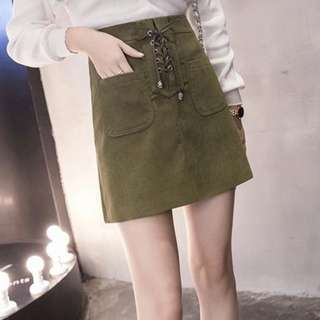 OLIVE GREEN SUEDE LACE UP SKIRT