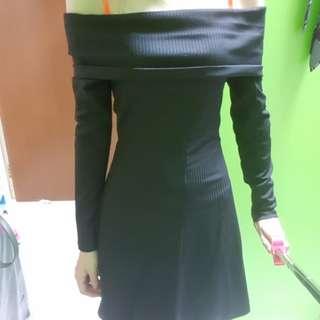 Shoulder off black dress