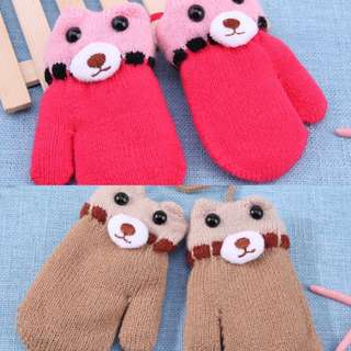 Winter baby knitting gloves