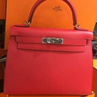 正品 全新 Hermes Kelly 32 A5 杜鵑粉紅色Epsom 銀扣手挽側揹袋