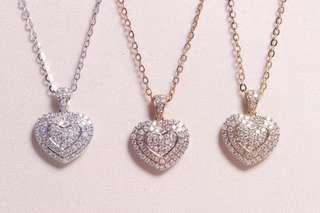 18K金 心形鑽石項鍊