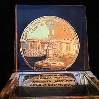 Vintage Gold Plated Award Medal Encrusted within an Acrylic Stand.