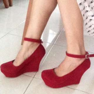 (Reprice!) Red Wedges Shoes