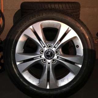 "Mercedes 17"" rim and tyres"