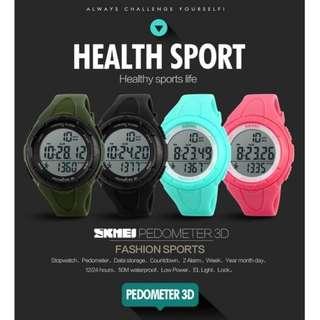 Jam tangan skmei S-shock pedometer sport water resist 50m-Dg1108-s