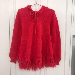 日牌LOWRYS FARM 橙紅混毛有帽裙擺長袖衣衫TEE $15 順豐到付