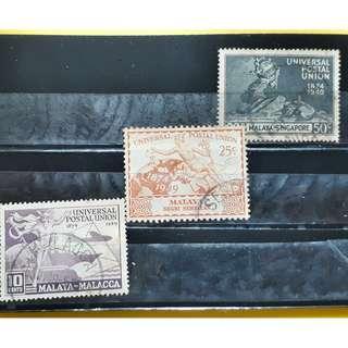 MALAYA - SINGAPORE NEGRI SEMBILAN & MALACCA - UNIVERSAL POSTAL UNION - 1949 - 3 Stamps Set