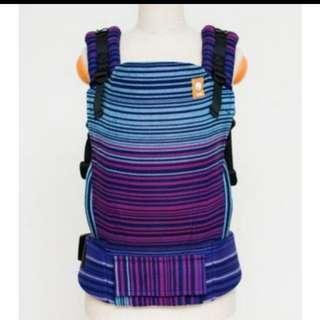 Tula toddler Half Wrap Conversion Girasol Midnight Snack Azul Capitan Weft Herringbone weave