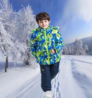 Pre-order Children Ski suit (triangles blue jacket and Navy pant)