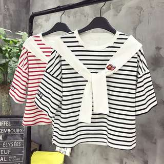 [PO] Ulzzang summer striped short sleeve shirt