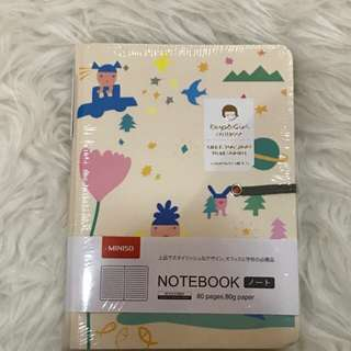 Miniso notebook with pen cartoon series