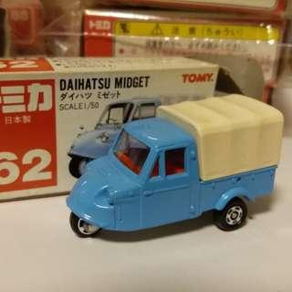 Tomica tomy車 no 62 號 1:50 Daihatsu Midget 大發 日本製