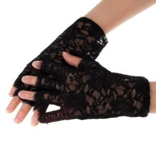 spring and summer womens sunscreen short gloves fashion sexy fingerless lace semi-finger driving gloves 1 pair