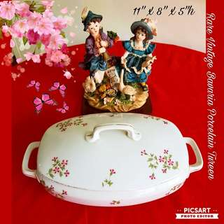 Rare BAVARIA Porcelain Tureen with Very Pretty Red Flowers. Dimensions in photo. Beautiful, no stain, just has chip underneath and so not that obvious unless you turn it upside down (as in the last photo). Not for fussy. $18 offer, sms 96337309.