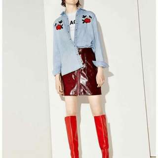 💋Embroidered Floral Denim Shirt Blouse P419