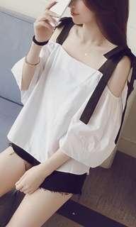 夏天🌟一字膊🌟露肩🌟吊帶🌟雪紡衫