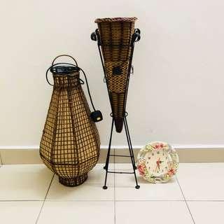 Balinese Rattan lamp, rattan flower basket, table clock