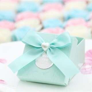 PO Tiffany Blue Modern Textured Favor Box with Ribbon
