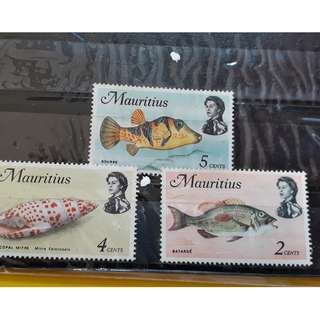 MAURITIUS - Lot of 3 MINT Stamps , Marine Life , FISH