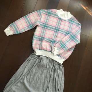 ¥降價¥粉綠格長袖上衣(含運)