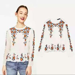 Instock / Embroidery Chiffon Polyester Blend Long Sleeve Blouse Top in White