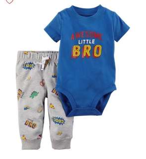 *3M* Brand New Carter's 2-Piece Bodysuit Pant Set  For Baby Boy