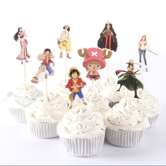 8 Pcs One Piece Cupcake Toppers Cake Topper Muffin Decoration Baking