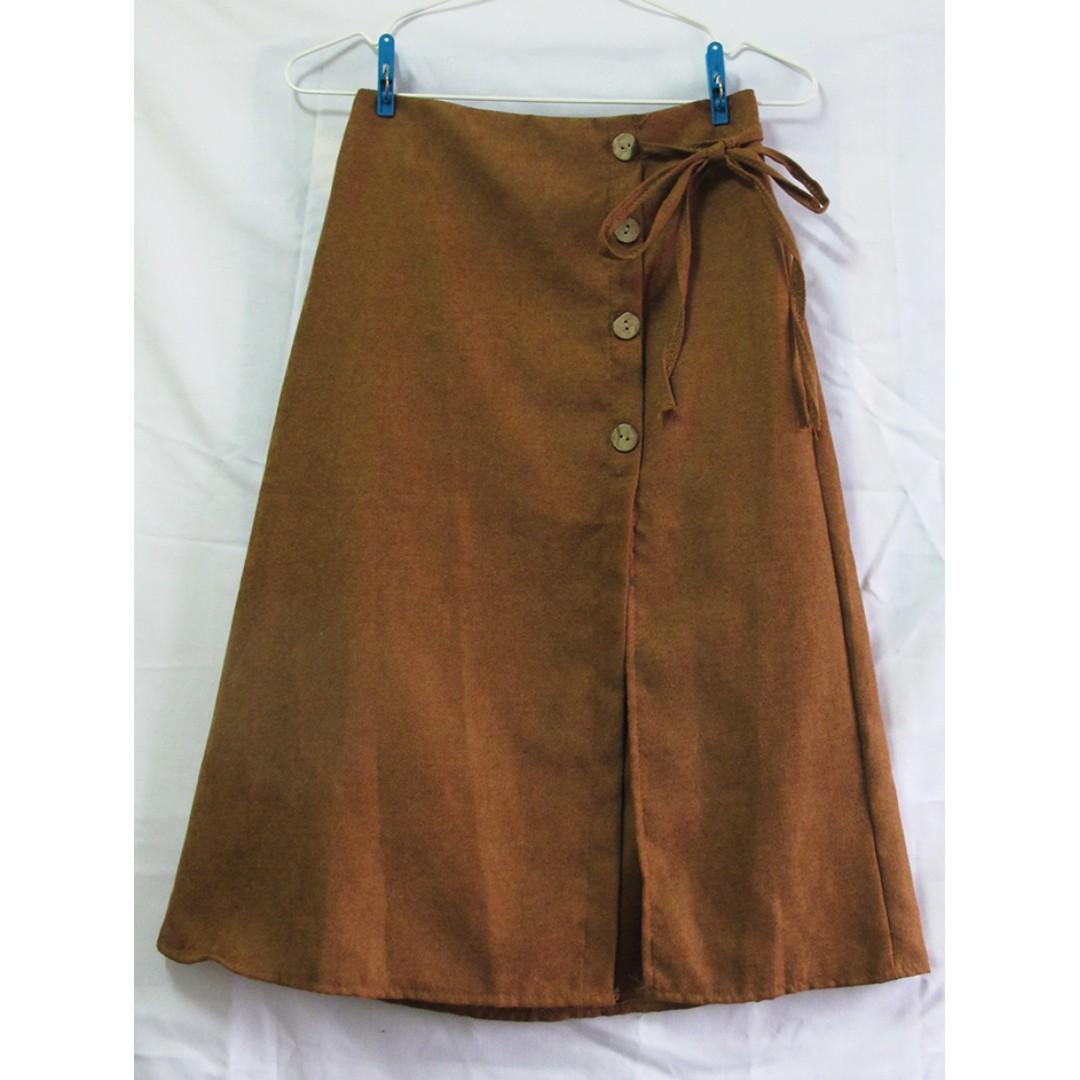 駝色裝飾側釦綁帶開衩裙