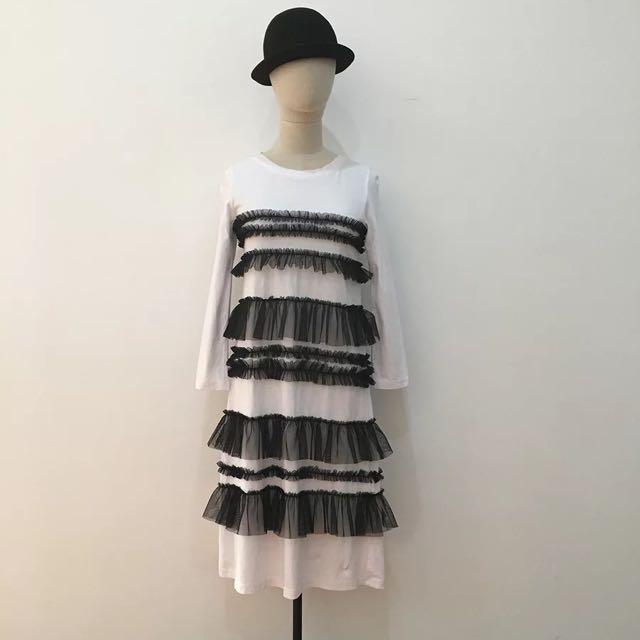 蕾絲中長黑白洋裝