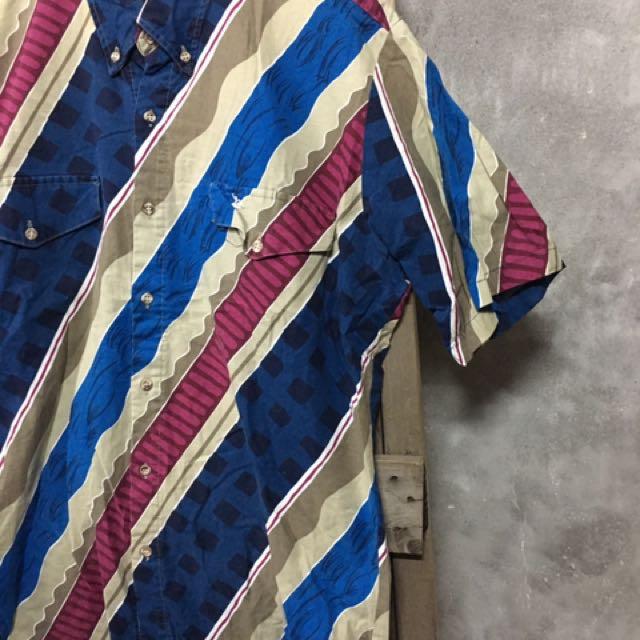 古著斜條紋彩色感襯衫