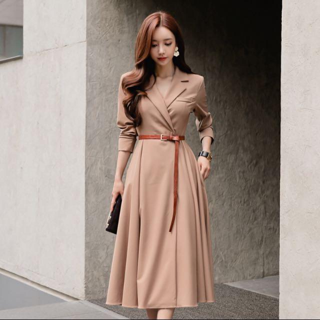 氣質西裝版型收腰顯瘦洋裝