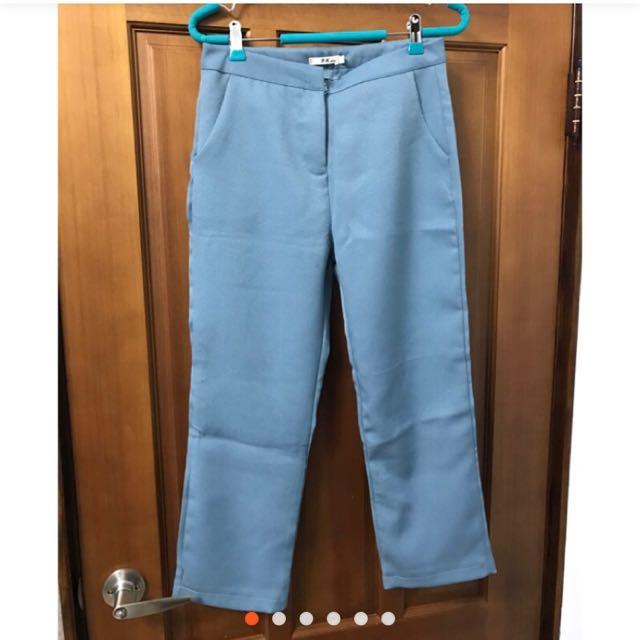 全新藍綠色中腰西裝褲