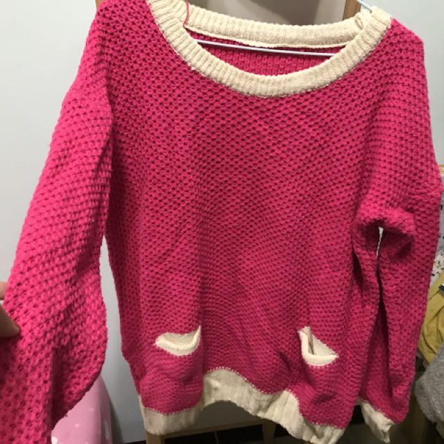 桃紅針織衣