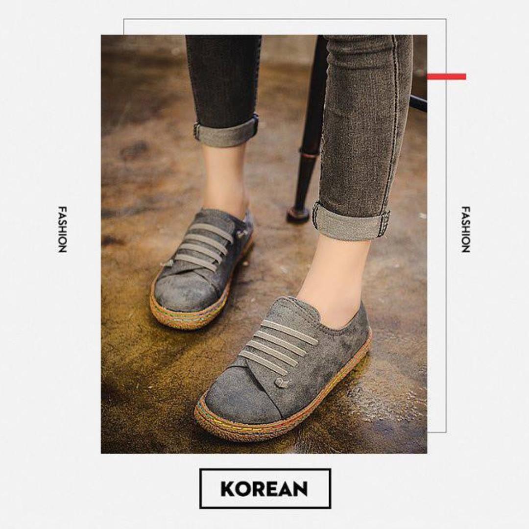 韓國適耐磨手工鞋(灰色)