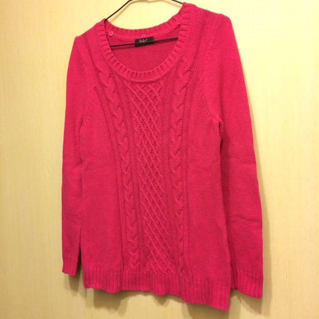 專櫃超美玫瑰紅針織毛衣 #新春八折