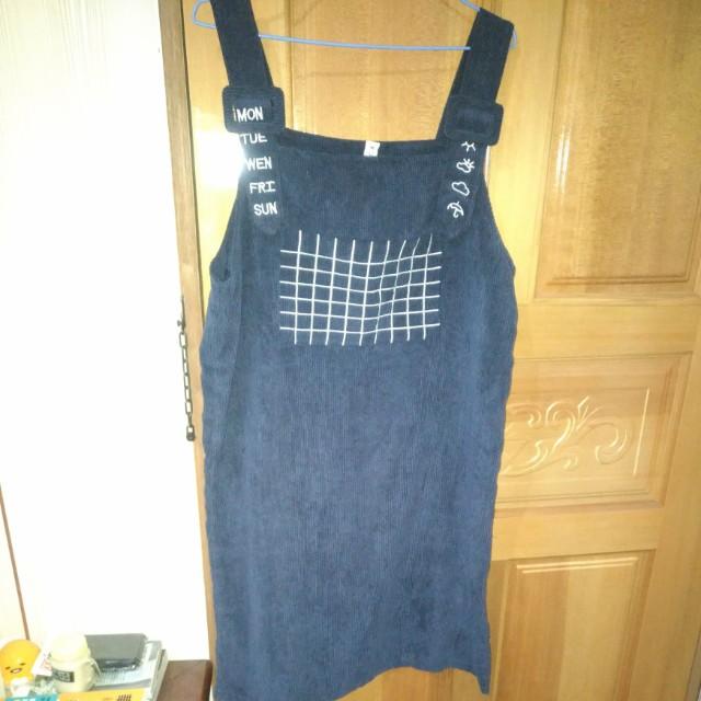 深藍 燈芯絨 吊帶 裙