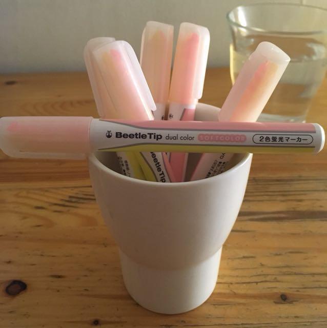 日本 Beetle Tip dual color 獨角仙 雙頭螢光重點筆