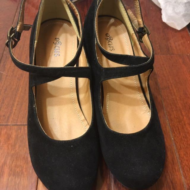 日本品牌 sango 麂皮交叉繫踝瑪莉珍粗跟鞋