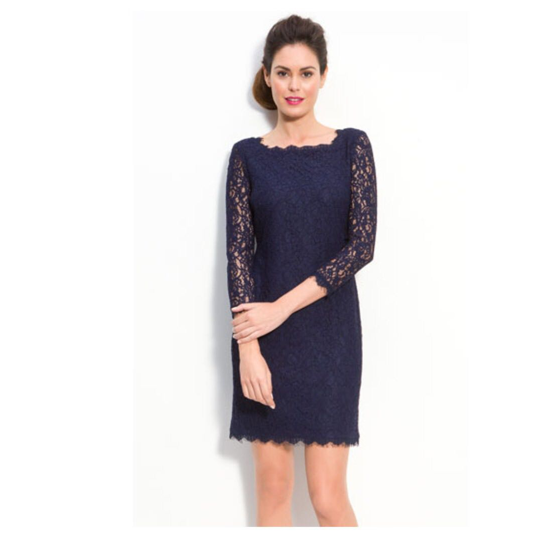 aabf22dd520de Adrianna Papell Navy Lace Cocktail dress, Women's Fashion, Clothes ...