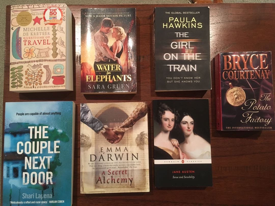 Adult fiction, crime (Couple Next Door and Girl on Train), historical fiction, classic (Jane Austen)