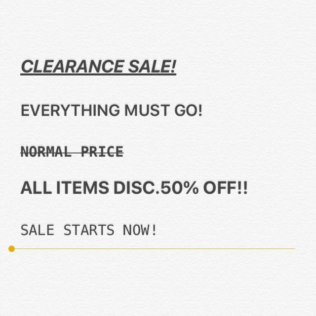 ALL ITEMS DISC. 50% !!!!!