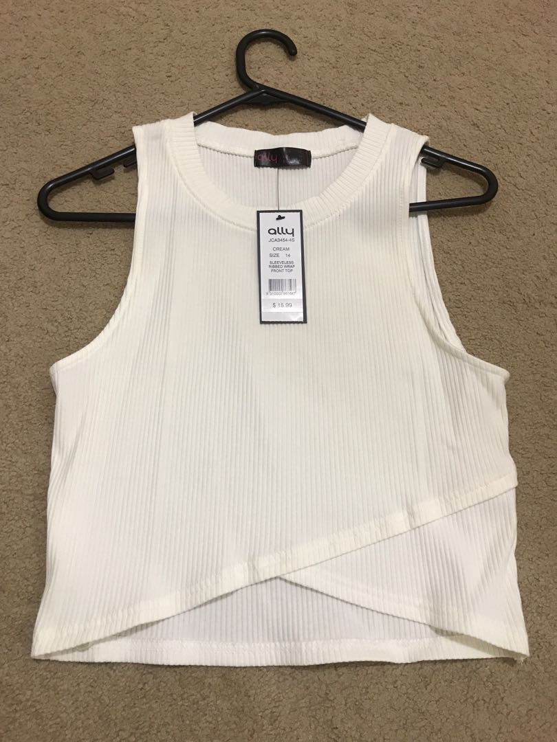 ALLY sleeveless ribbed wrap front Crop top BNWT